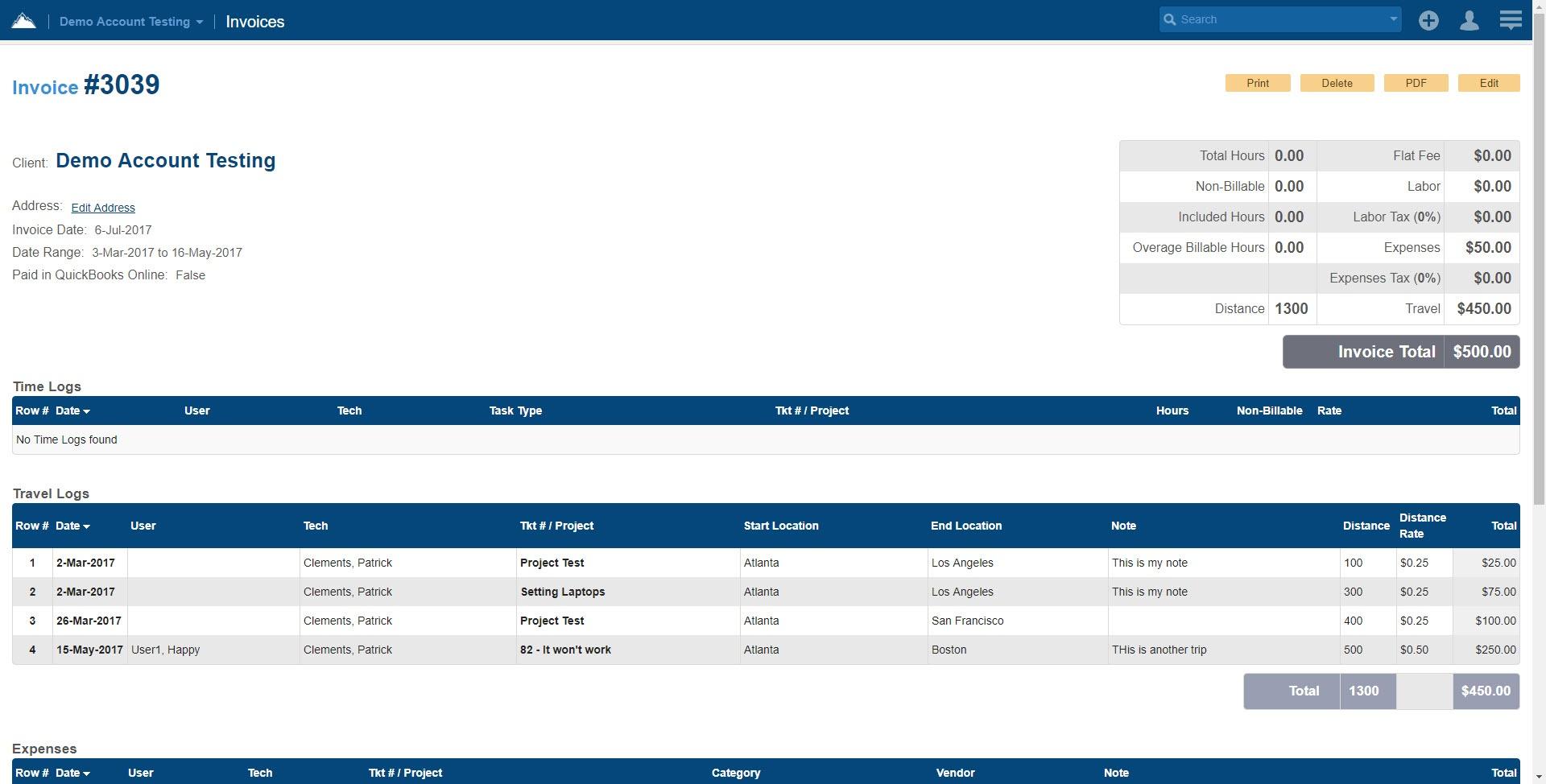 Easy to Use Invoice in  SherpaDesk