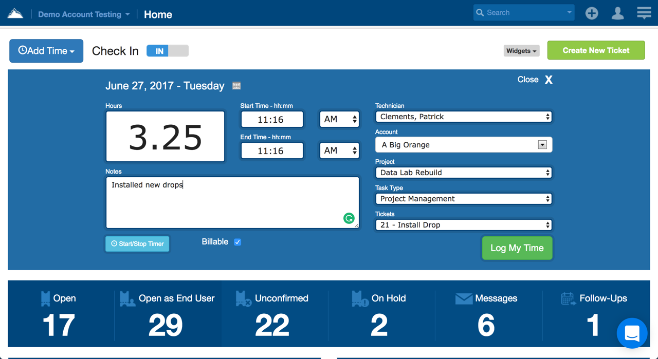 Time Tracking Solution in  SherpaDesk